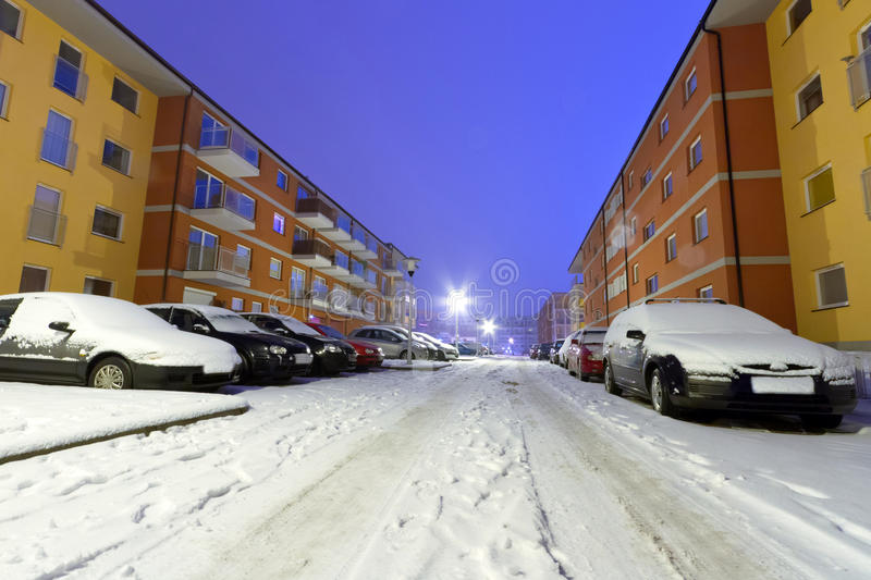 Download Snowy Street With Cars At Winter Stock Image - Image of gdansk, dusk: 28255189