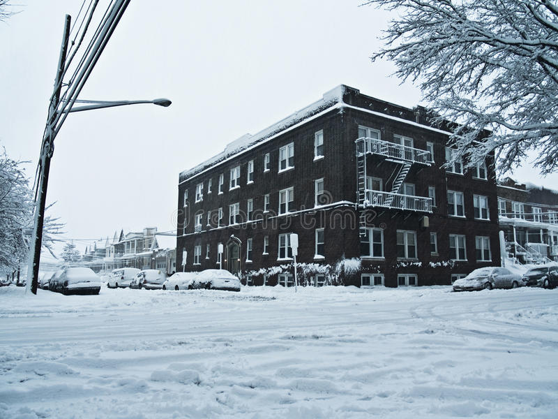 Download Snowy street corner. stock photo. Image of brick, environment - 13115656