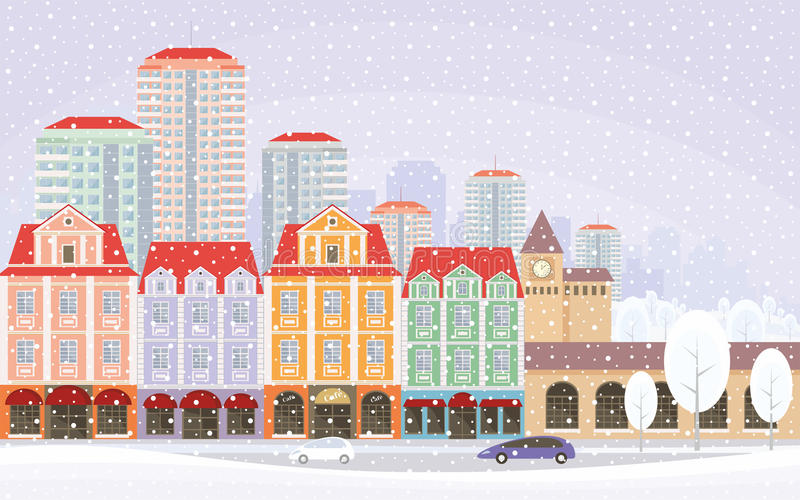 Snowy streets background. The image of a winter city. Snow-covered streets with small old houses and high-rise buildings in the background. Vector illustration vector illustration