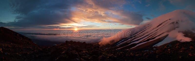 Snowy Sunset over Mt Taranaki (Egmont), New Zealand stock photo