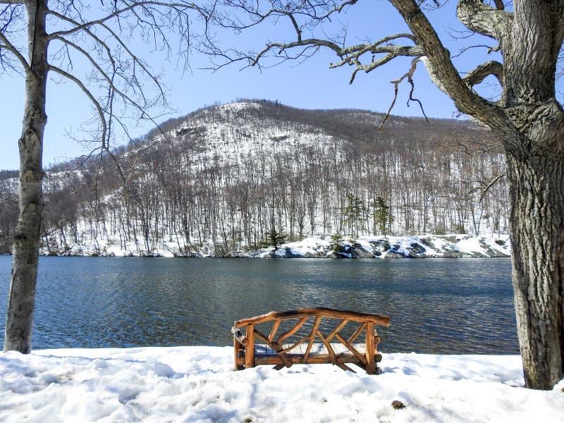 Snowy-Szenen-Holzbank-Unterlassungshessian See Bear Mountain New York lizenzfreie stockfotos