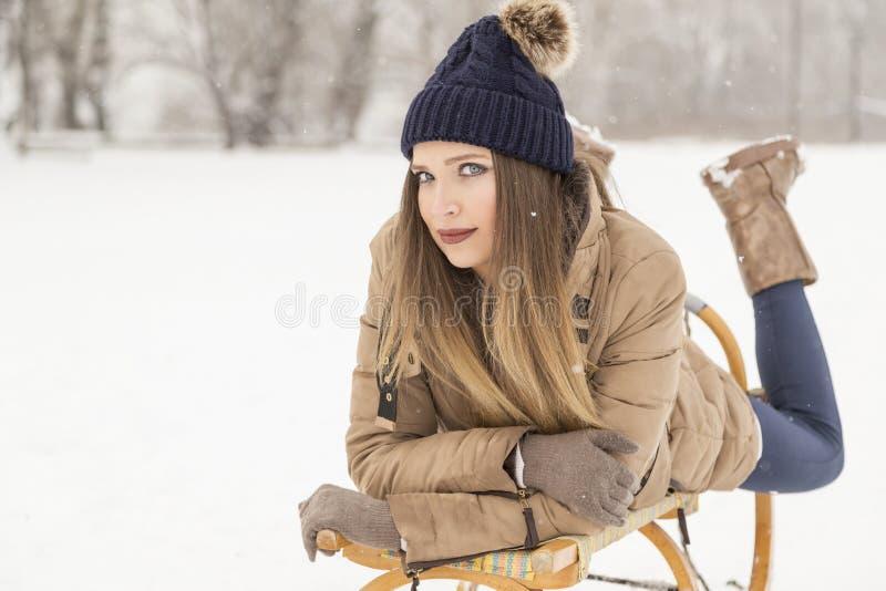 Snowy-Tag in der Natur stockfoto