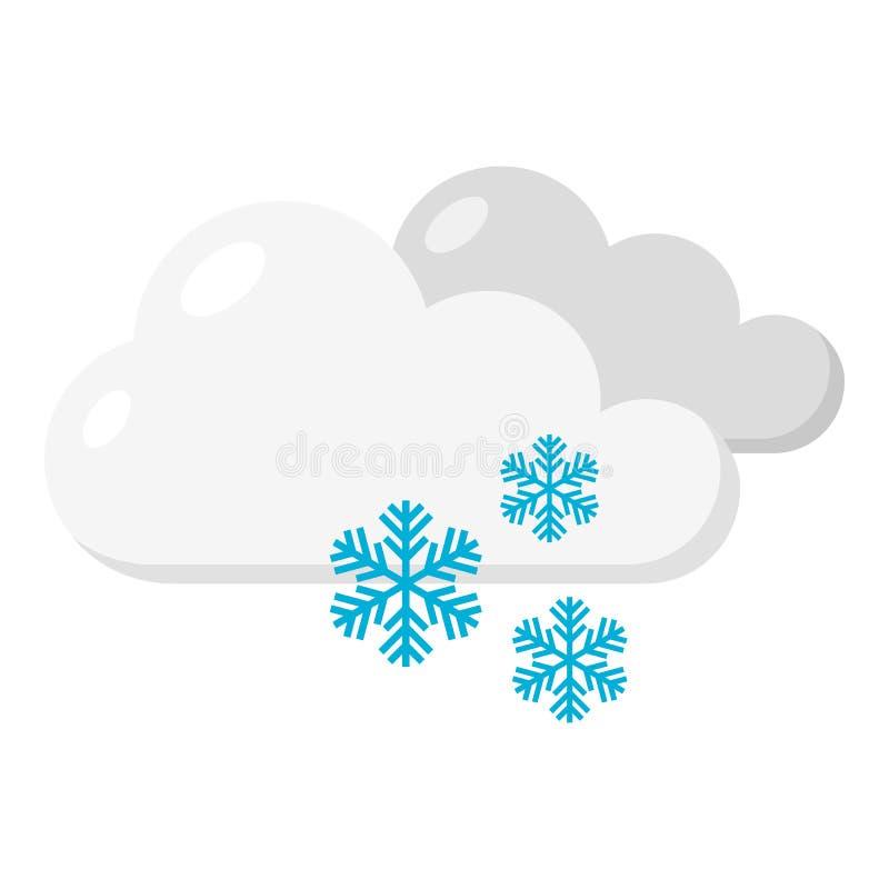 Snowy-Tagesflache Ikone lokalisiert auf Weiß vektor abbildung