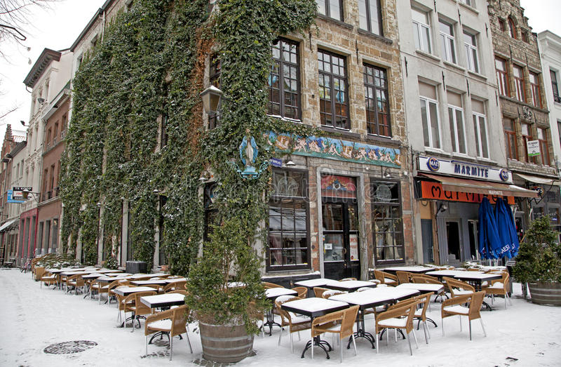 Snowy terrace in city Antwerp royalty free stock image