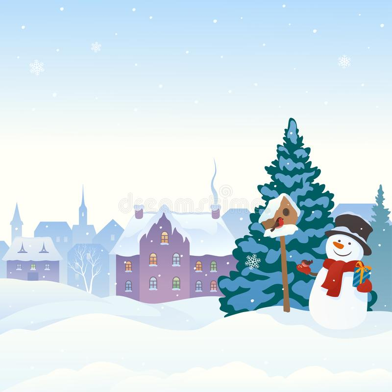 Snowy town and snowman. Vector cartoon illustration of a snowy scene with a cute snowman feeding birds, winter old town background stock illustration