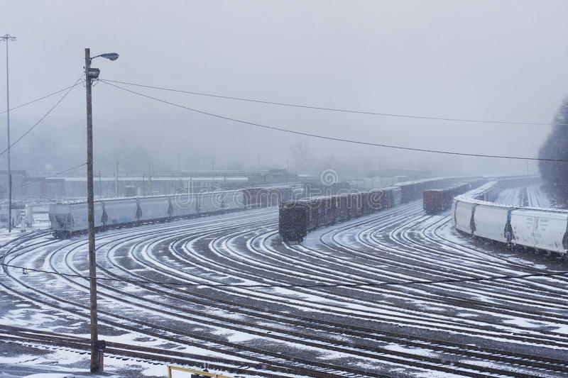 Download Snowy Train Yard stock photo. Image of slippery, snowy - 29177324