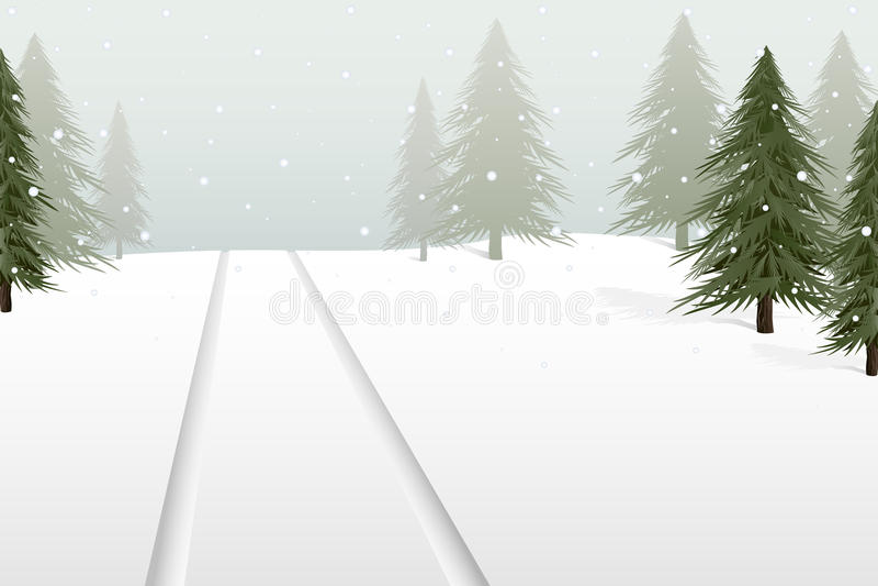 Snowy tree lot royalty free illustration