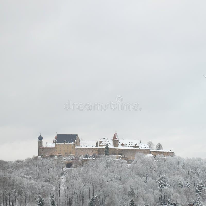 Snowy Veste Kammgarn-stoff während des Winters lizenzfreie stockbilder
