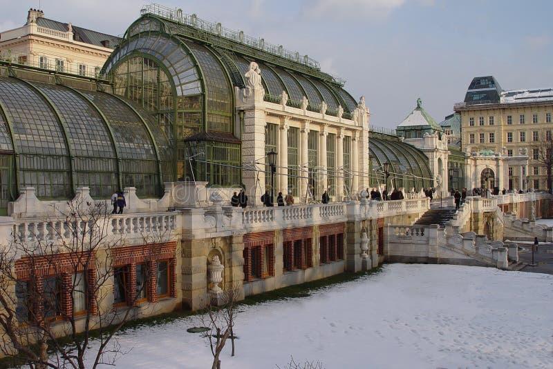 Snowy Vienna winter garden royalty free stock photography