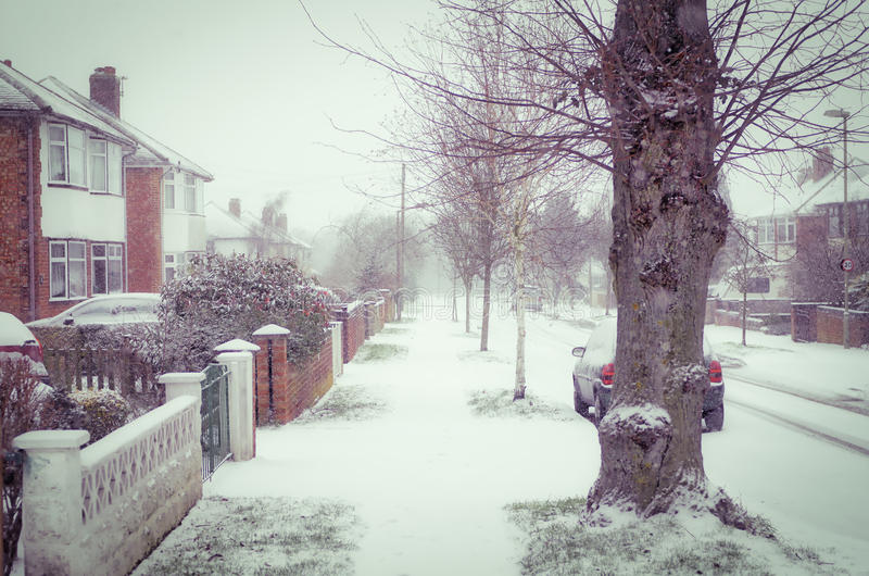 Snowy view of British countryside stock photos