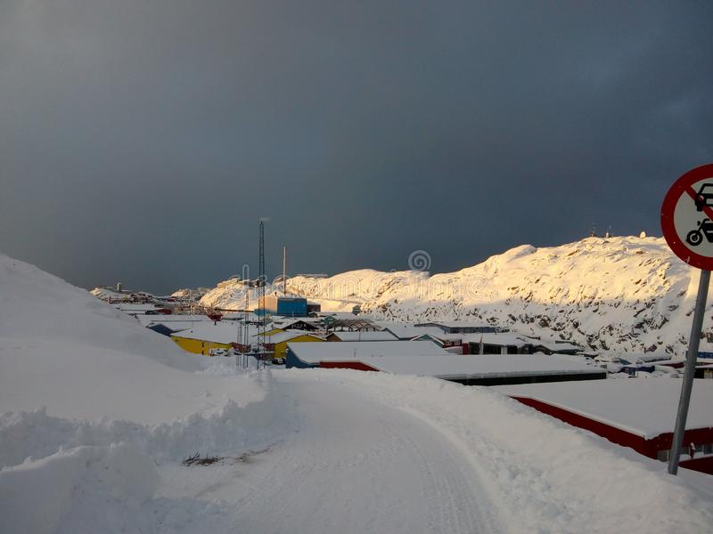 Snowy village in Greenland stock photography