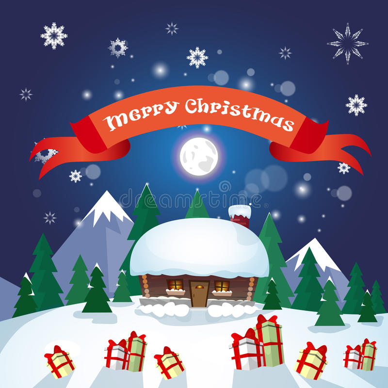 Free Snowy Village House Happy New Year Merry Christmas Greeting Card Banner Royalty Free Stock Images - 79683679