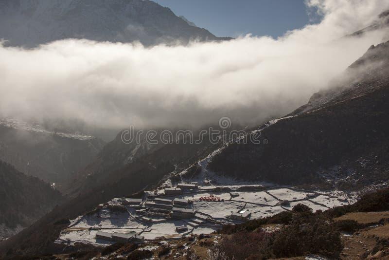 Snowy village stock image