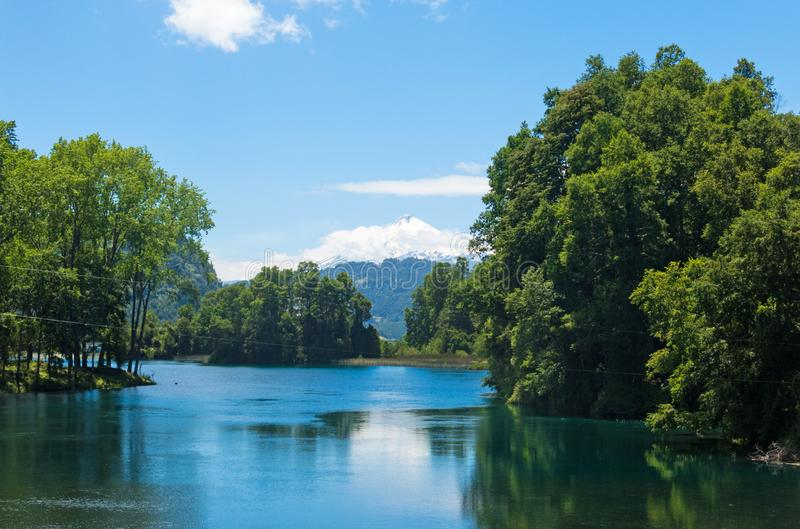 The snowy Villarrica Volcano from the Pullinque lagoon, in the Chilean Patagonia, Los Rios region. Chile stock photos