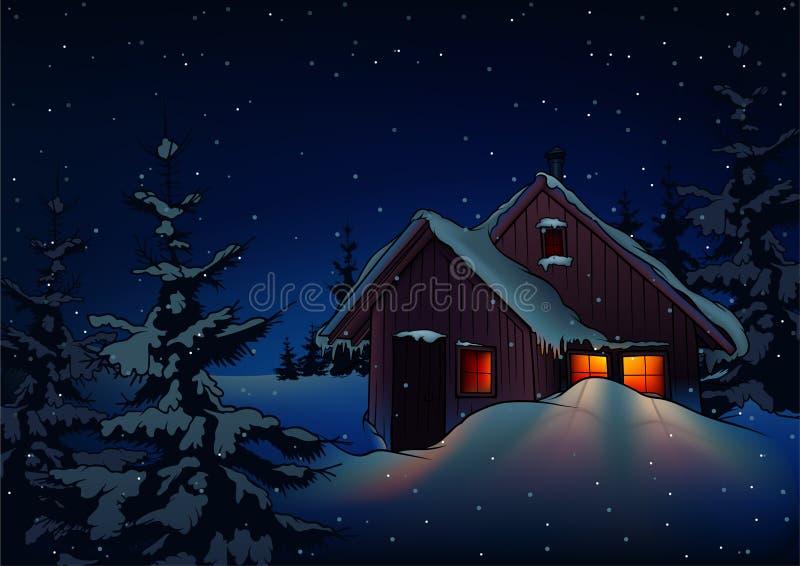 Snowy-Weihnachten stock abbildung