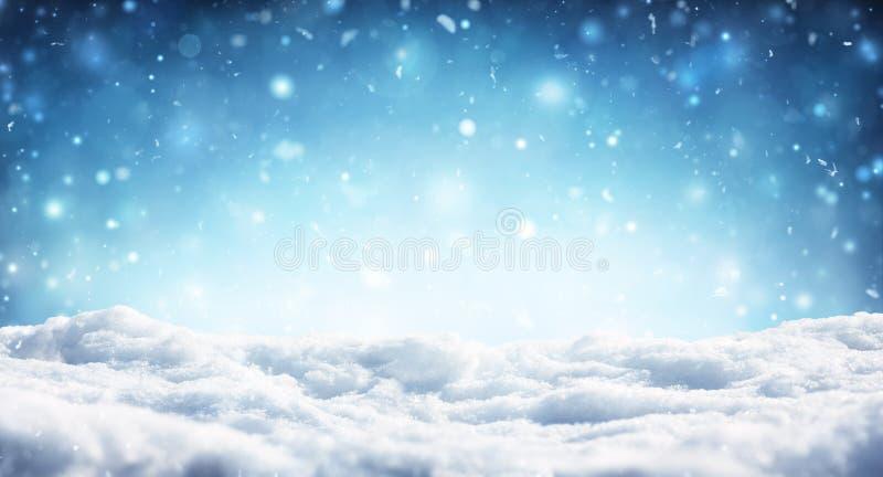 Snowy-Weihnachtshintergrund - Schneefälle stockbilder