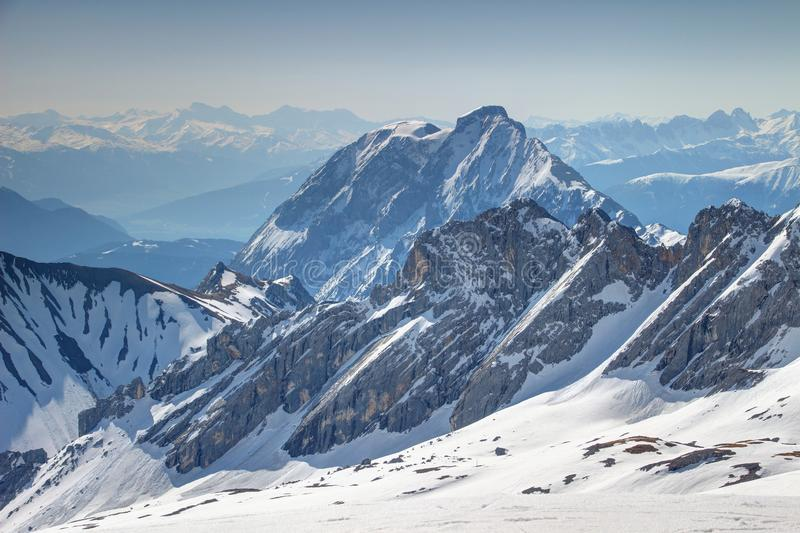 Snowy Wetterstein and Mieminger mountains in Germany / Austria royalty free stock photos