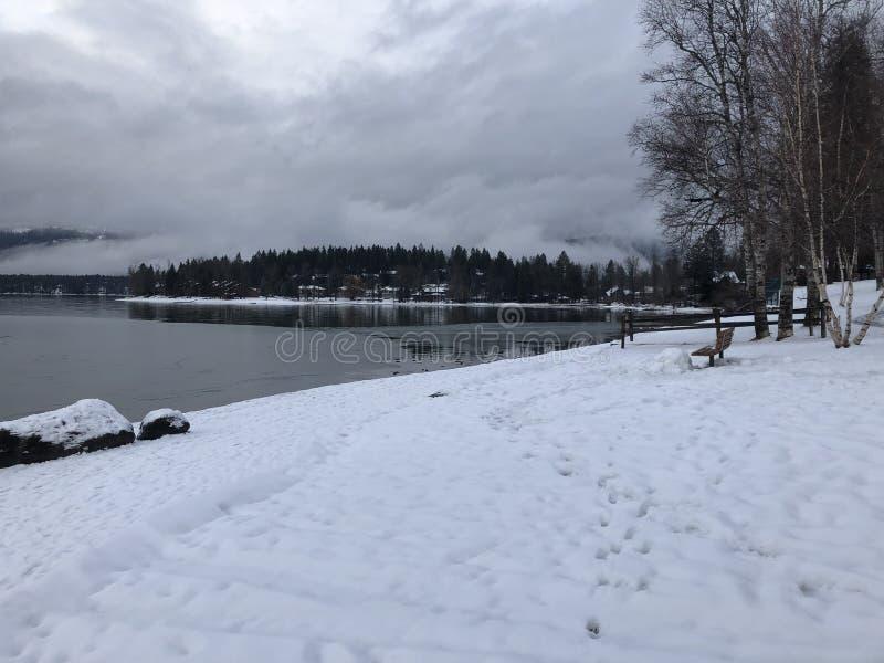 Snowy Whitefish Lake, Montana stock fotografie