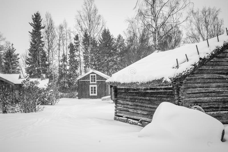Snowy window. A shot from a rural village called Stundars, situated near Vaasa, Finland royalty free stock photography