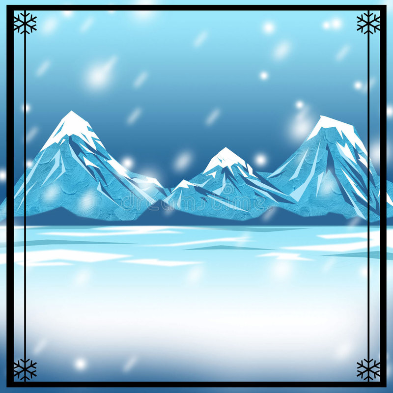 Snowy Winter Backdrop Background royalty free illustration