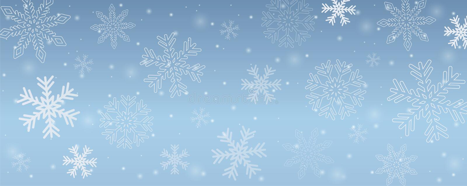 Snowy winter background snowflakes in blue sky vector illustration