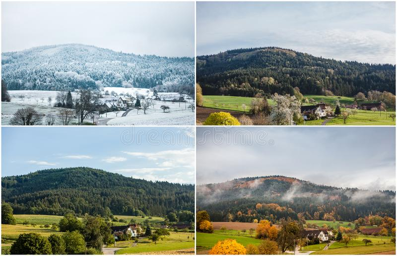 Four seasons of year in European climate in southern Germany as nature concept -winter, spring, summer, autumn. Snowy winter, blooming spring, rich summer royalty free stock photography