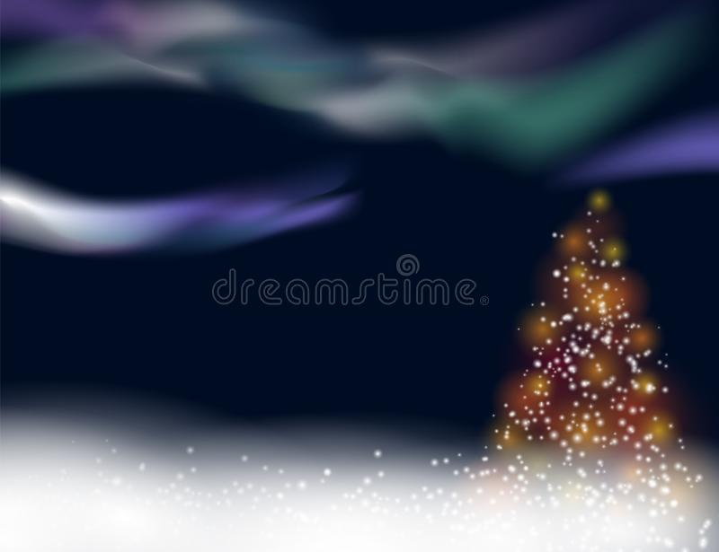 Snowy winter christmas background with illuminated christmas tree and northern lights vector illustration