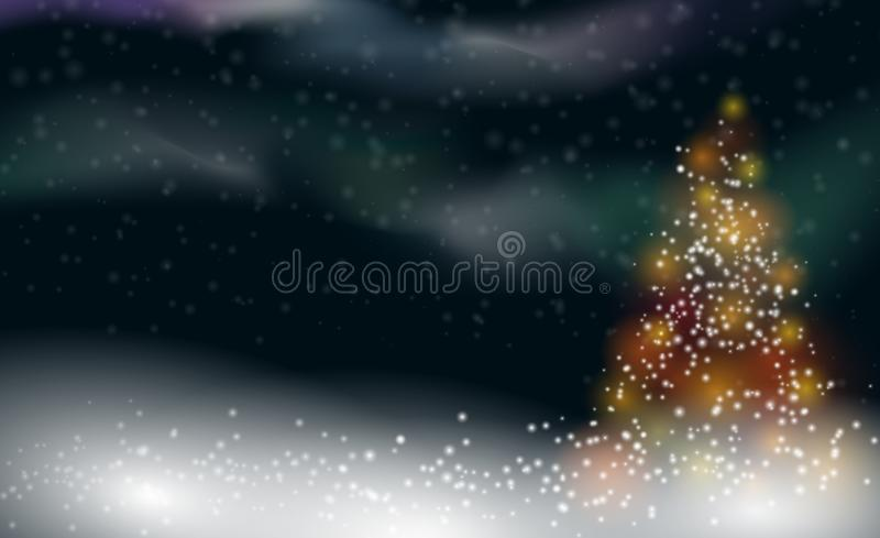 Snowy winter christmas background with illuminated christmas tree and northern light royalty free illustration