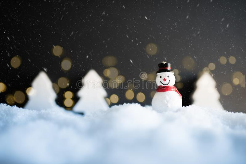 Snowy winter christmas decoration with snowman stock photography