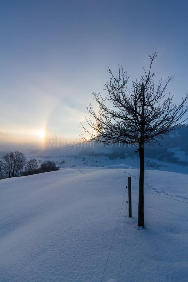 Snowy winter landscape in the alps, sunrise with halo phenomena. Winter landscape in the morning: Sunrise and halo phenomena, alps, snow, nature, beauty royalty free stock photography
