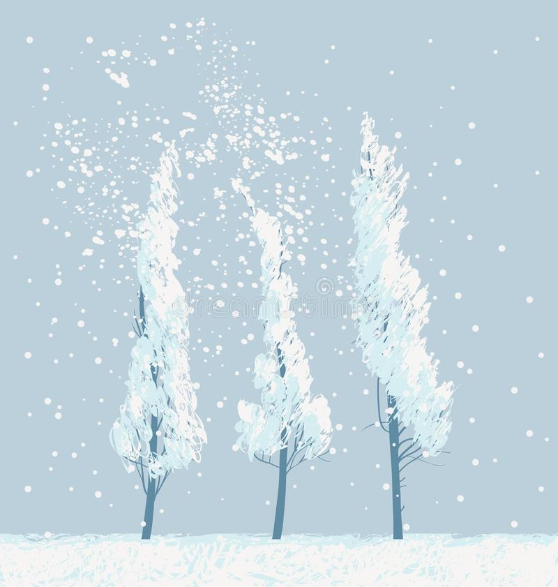 Winter snowy landscape with snow covered trees vector illustration