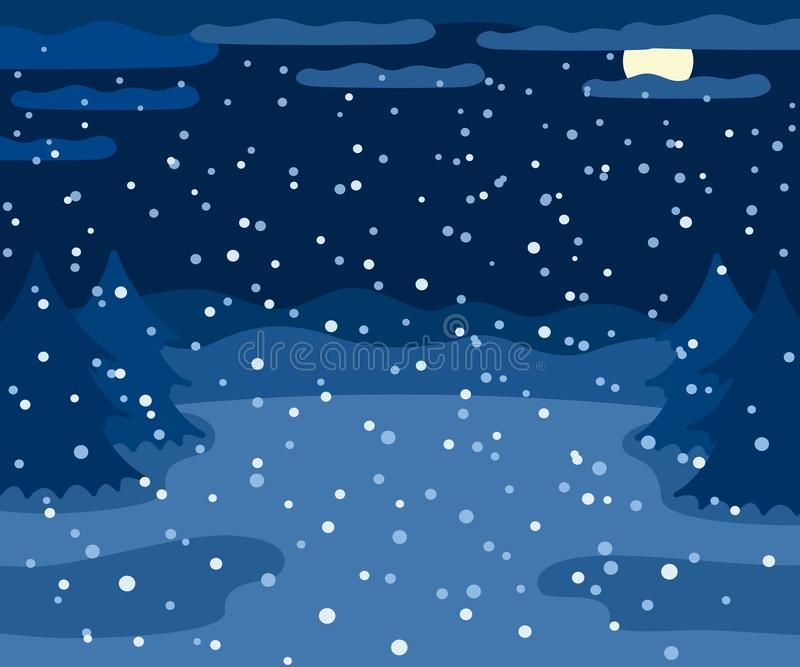 Snowy winter landscape at night, winter outdoor view with spruce trees, moon and snow, countryside night nature stock illustration