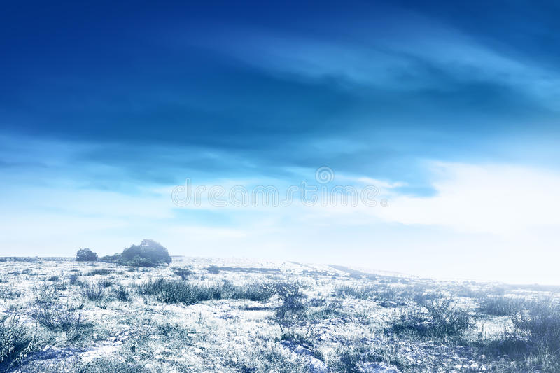 Snowy winter landscape with snow stock images