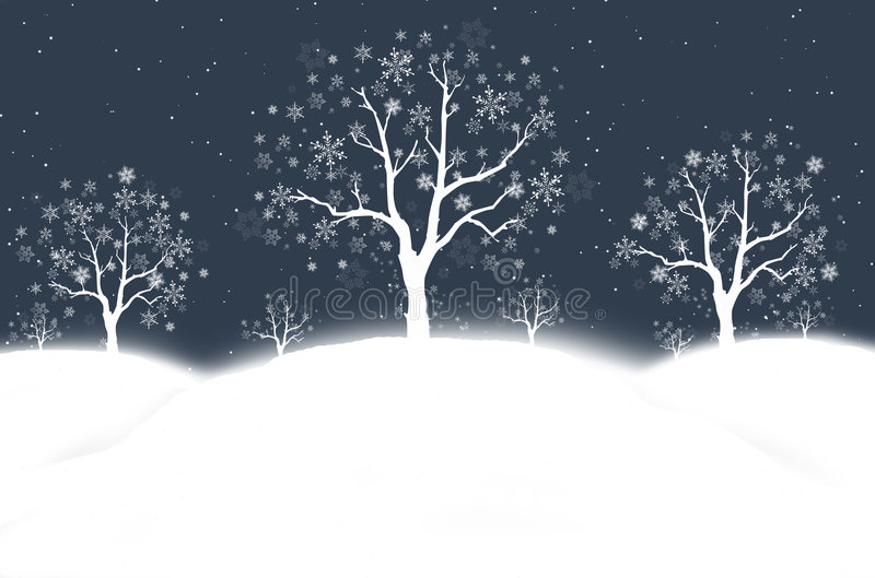 Snowy winter night. Abstract winter snow scape with snowflakes and trees royalty free illustration