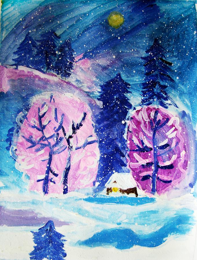 Snowy winter night painted by child stock illustration