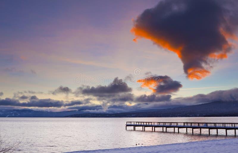 Download Snowy Winter Pier stock image. Image of evening, orange - 22984727