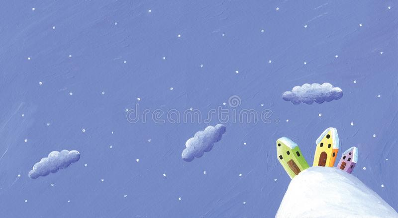 Snowy winter scene in the countryside - colorful houses on the hill. Night sky with clouds stock illustration