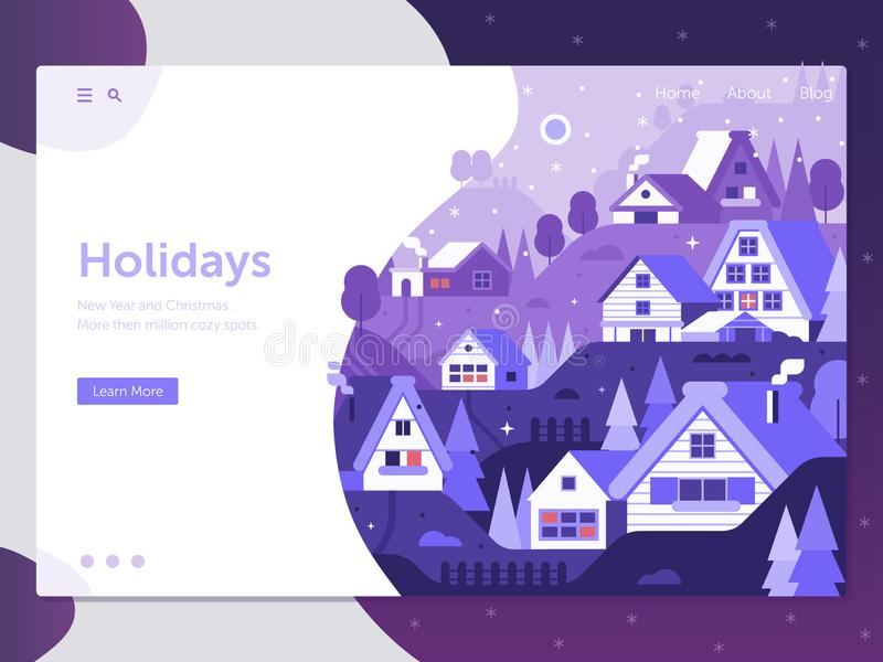 Snowy Winter Village Landing Page stock illustration