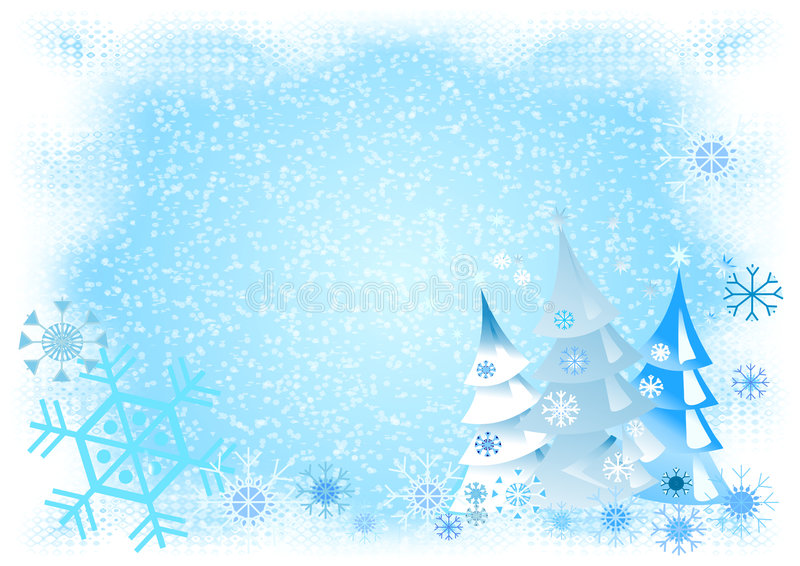 Snowy Winterworld. Blue / white illustration with lots of snow and decorative christmas trees and snowflakes royalty free illustration