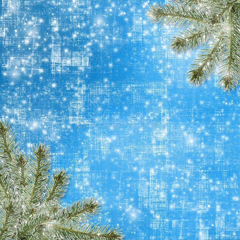 Snowy-Winterzusammenfassungshintergrund stock abbildung