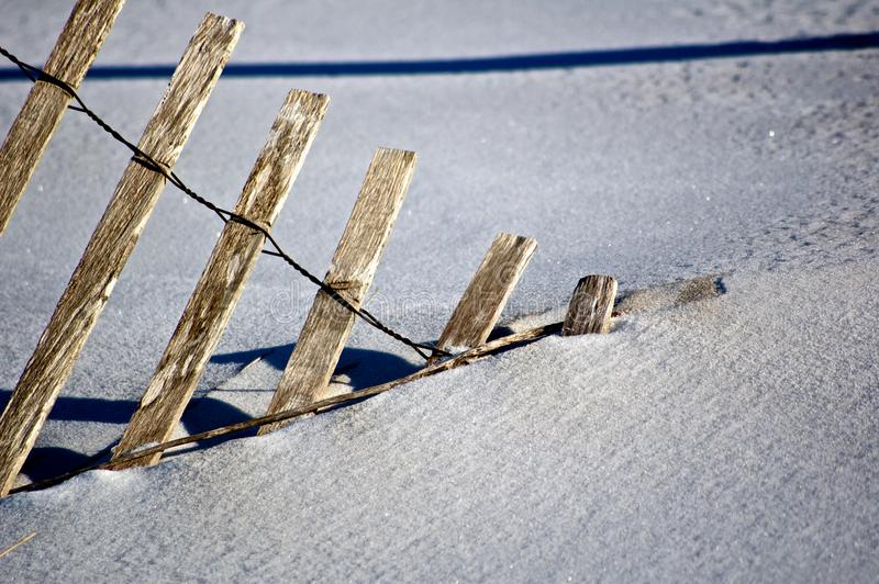 Snowy Wooden Fence stock image