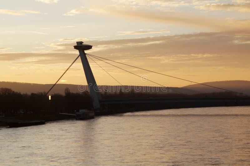 The SNP bridge in Bratislava, Slovakia royalty free stock image