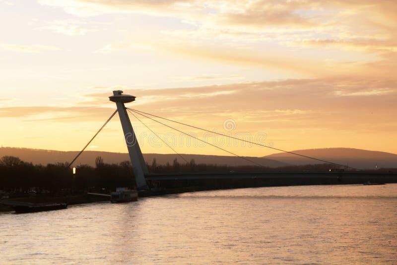 The SNP bridge in Bratislava, Slovakia royalty free stock photography