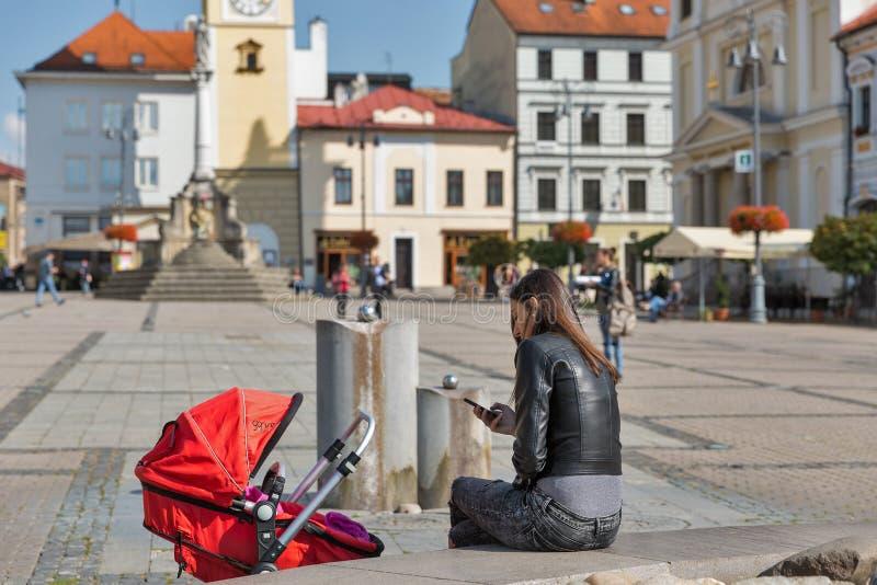SNP-fyrkant i Banska Bystrica, Slovakien royaltyfria foton
