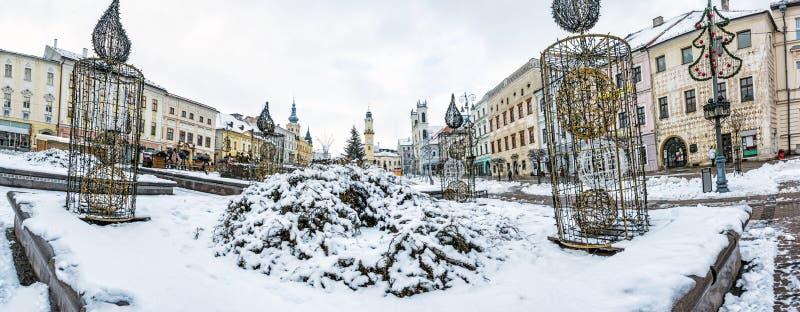SNP square in Banska Bystrica, Slovakia, winter scene stock image
