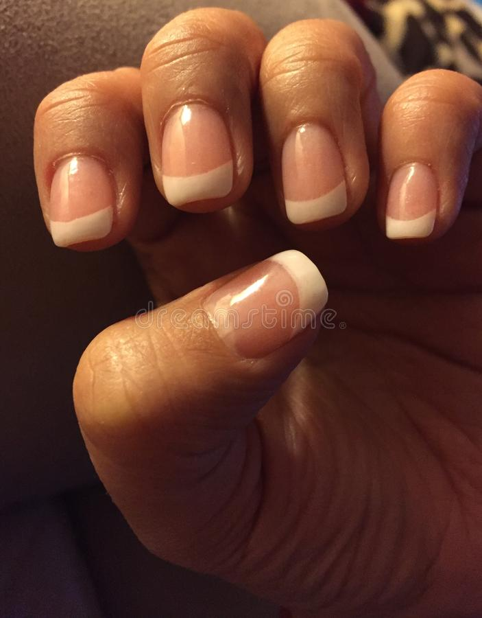 SNS French Manicure. Elegant and long lasting Signature Nail Systems SNS French manicure stock images