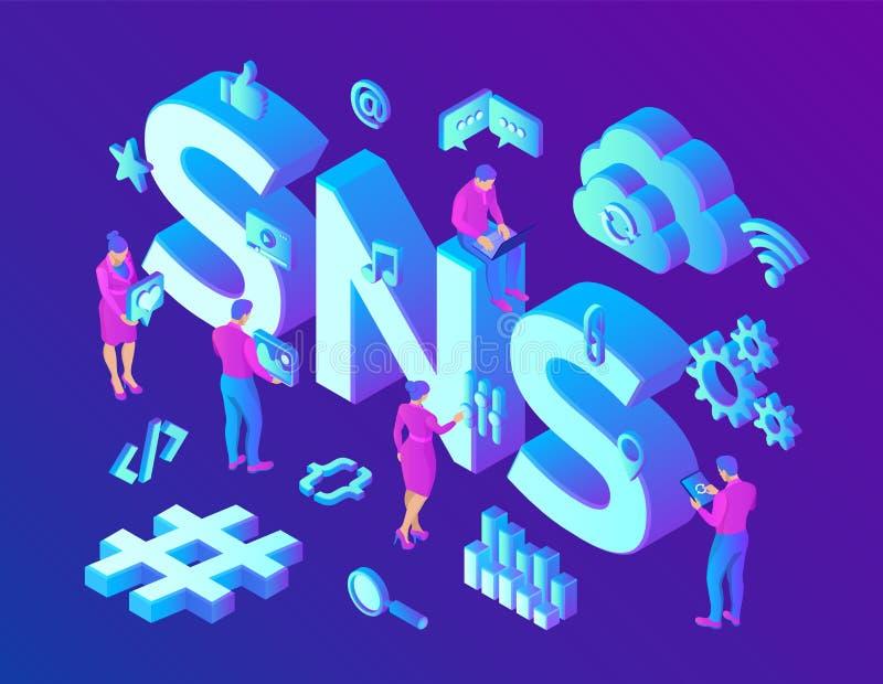 SNS Ogólnospołeczna networking usługa - jest online platforma które zaludniają używają budować ogólnospołeczne sieci lub ogólnosp ilustracja wektor