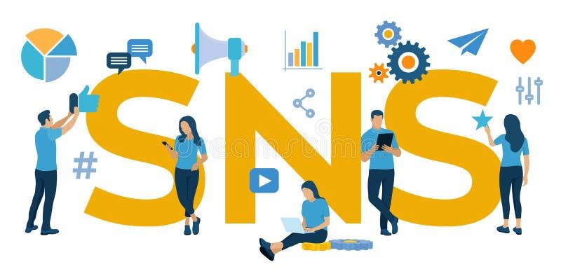 SNS Servicio social del establecimiento de una red - es una plataforma en línea que la gente utiliza para construir redes sociale libre illustration