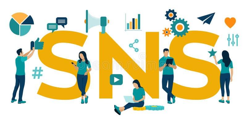 SNS Servicio social del establecimiento de una red - es una plataforma en línea que la gente utiliza para construir redes sociale stock de ilustración