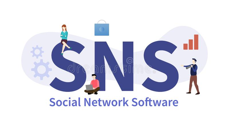 Sns social network software concept with big word or text with team people and modern flat style - vector. Illustration vector illustration